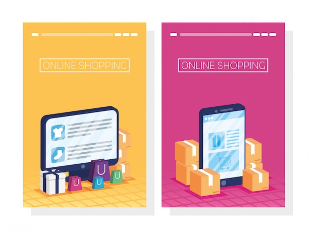 Achats de technologie en ligne sur smartphone et bureau