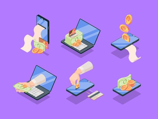 Achats et ventes ensemble isométrique des applications en ligne. applications web mobiles commerciales avec paiement électronique de détail émission de prépaiement de chèque par carte de crédit.