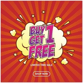 Acheter 1 obtenir 1 bannière de vente gratuite dans le modèle de style bande dessinée