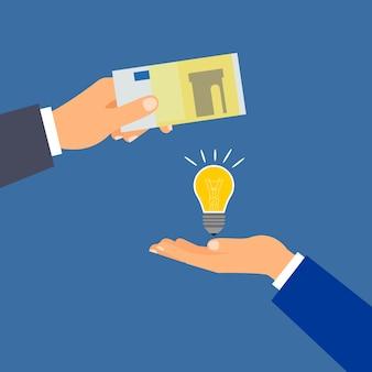 Acheter une idée d'argent, un concept d'entreprise