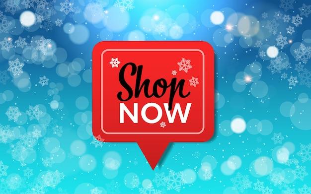 Acheter maintenant bannière avec des flocons de neige, saison d'hiver