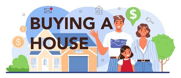 Acheter un en-tête typographique de maison. secteur immobilier, assistance aux agents immobiliers et aide à la sélection de biens et à l'élaboration de contrats hypothécaires. illustration vectorielle plane