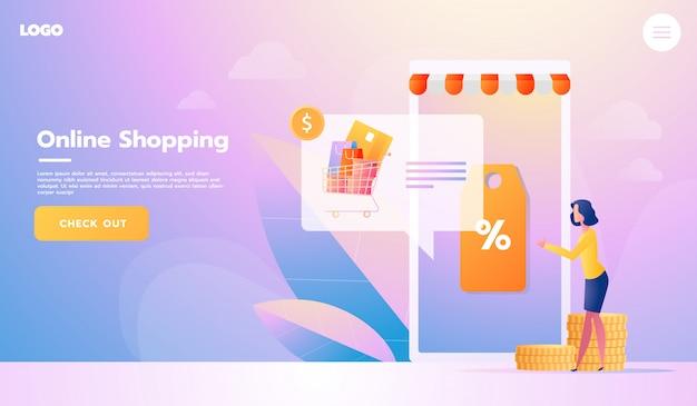 Acheteur e-commerce. articles internet. page de destination. jeune femme shopping en ligne