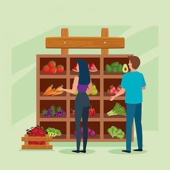 Acheteur femme et homme illustration, boutique magasin marché shopping commerce de détail acheter et payer