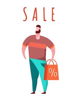 Acheteur avec illustration de sac à provisions rouge