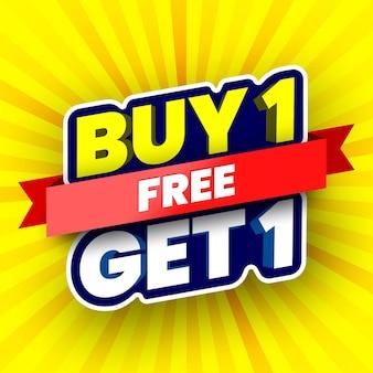 Achetez 1 gratuit obtenez 1 bannière de vente illustration vectorielle
