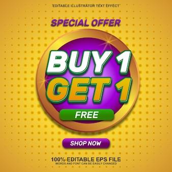 Achetez 1 obtenez 1 fond de bannière de vente et effet de texte modifiable