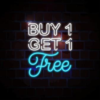 Achetez-en 1, obtenez 1 illustration d'enseigne au néon gratuite