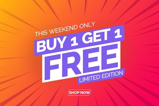 Achetez-en 1 obtenez 1 illustrations de modèle de bannière gratuites affiche de vente