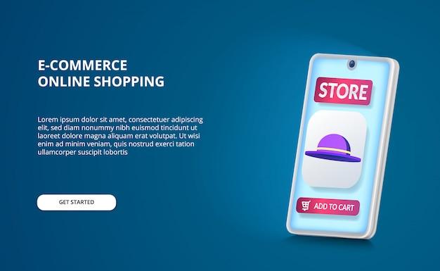 Achetez des achats en ligne avec une application de commerce électronique et une icône de chapeau 3d et une perspective de smartphone 3d avec une lueur d'écran bleu