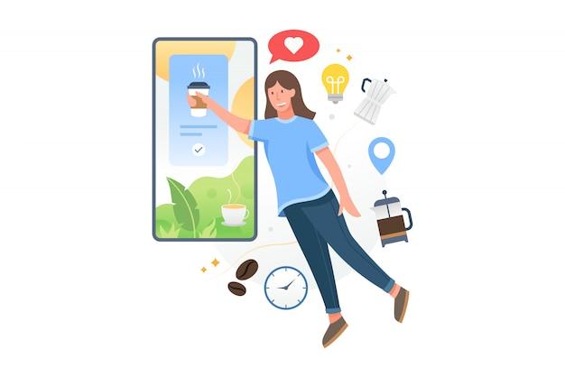 Achetez du café en ligne avec l'application mobile