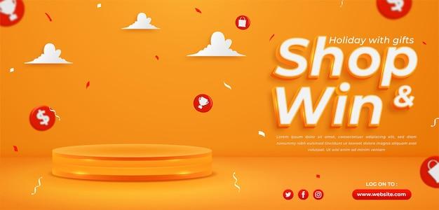 Achetez et gagnez, modèle de bannière horizontale de concours d'invitation