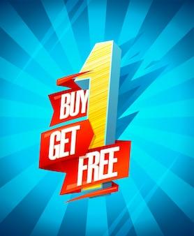 Achetez-en un obtenez un concept de conception de bannière de vente gratuite avec ruban origami