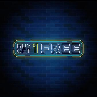 Achetez-en un et obtenez un design de bouton de texte néon gratuit.