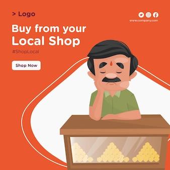 Achetez à partir de votre conception de bannière de magasin local avec le confiseur est assis sur le comptoir