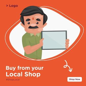 Achetez à partir de votre conception de bannière de magasin local avec un confiseur tenant une planche