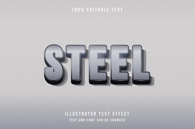 Acier, style moderne de modèle de dégradé gris effet texte modifiable 3d