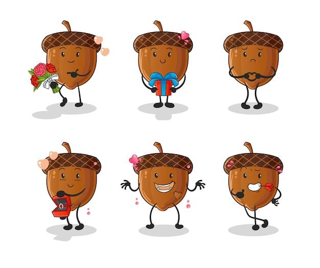 Acorn amour définir le caractère. mascotte de dessin animé