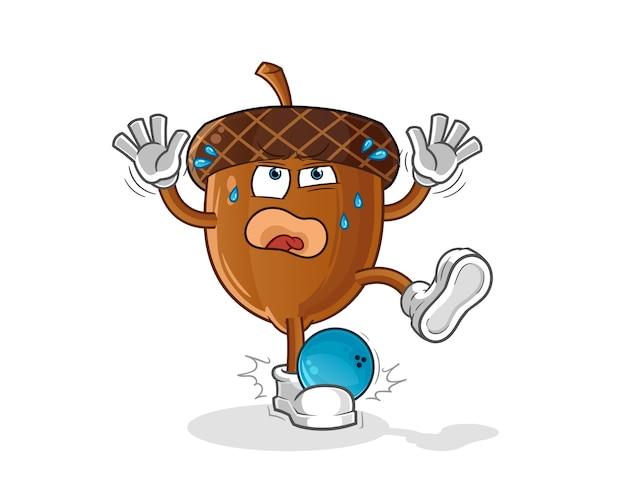 Acorn frappé par le personnage de dessin animé de bowling