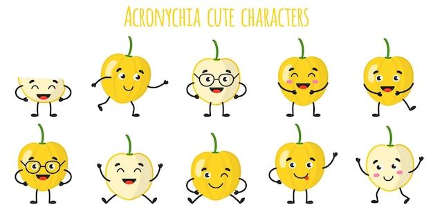 Acronychia fruits mignons personnages gais drôles avec différentes poses et émotions. collection de nourriture de désintoxication antioxydante de vitamine naturelle. illustration isolée de dessin animé.