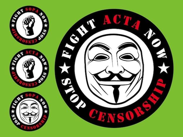 Acta sopa censure badges vecteur
