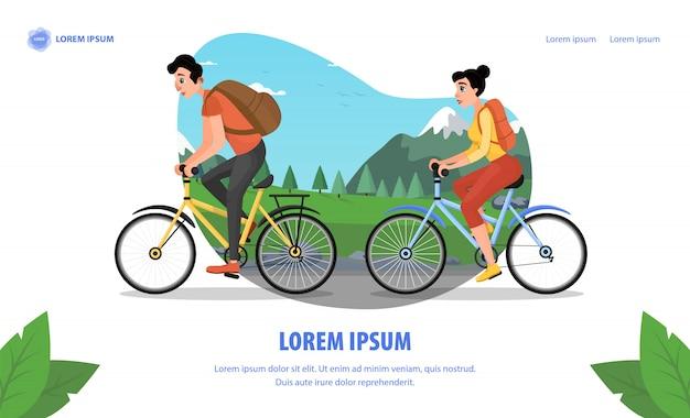 Acteur de cinéma famille voyage à vélo cartoon page d'atterrissage
