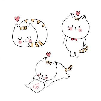Actions de chats doodle
