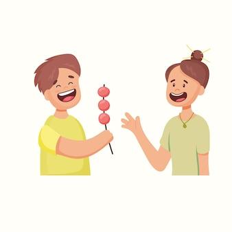Actions. le garçon partage un bonbon. illustration vectorielle dans un style plat
