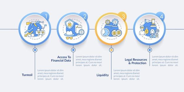 Les actions mondiales émettent un modèle d'infographie vectorielle. turbulence, éléments de conception de présentation de données financières. visualisation des données en 4 étapes. diagramme de chronologie de processus. disposition du flux de travail avec des icônes linéaires