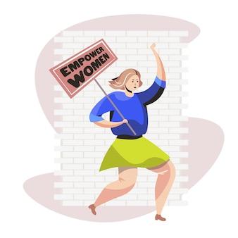 Activiste de fille tenant affiche le mouvement d'autonomisation des femmes les femmes puissance concept illustration vectorielle pleine longueur