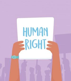 Activistes de la manifestation, protestation levée bras avec lutte pour les droits légende