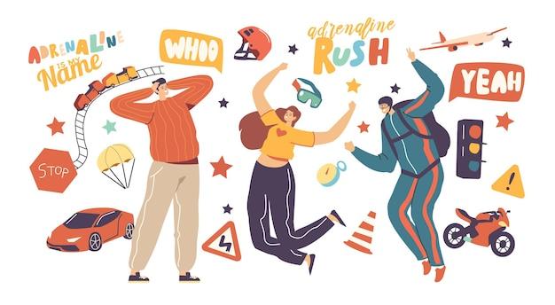 Activité d'adrénaline et loisirs sportifs. temps libre extrême de jeunes personnages heureux. parachutisme, course de vitesse en voiture et en moto, attraction du parc des montagnes russes. illustration vectorielle de personnes linéaires