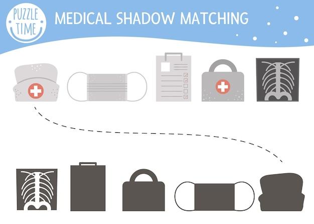 Activité d'appariement des ombres pour les enfants avec du matériel médical