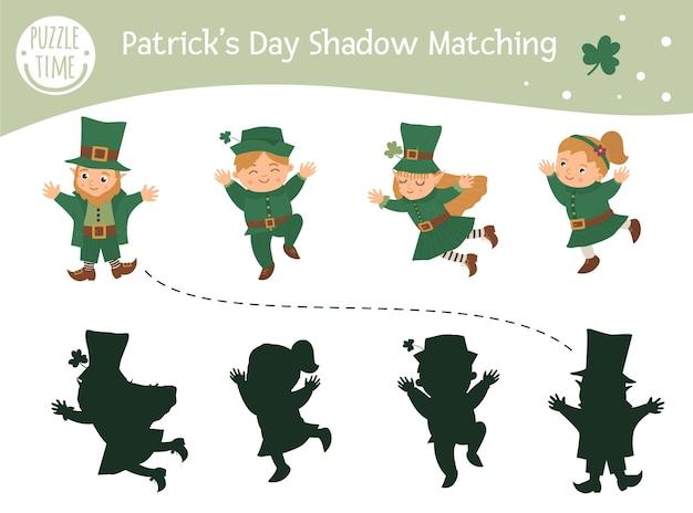 Activité d'association d'ombre de saint patricks day pour les enfants. puzzle de vacances irlandaises préscolaires. devinette éducative de printemps mignon. trouvez le bon jeu de silhouette.