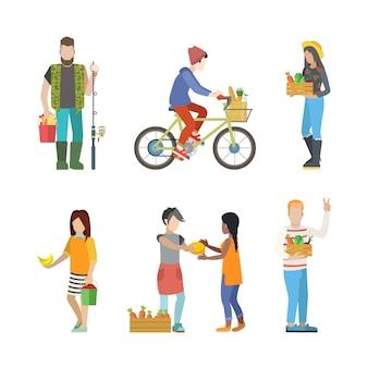 Activité de campagne de ferme en plein air jeunes gens web infographie concept icon set.