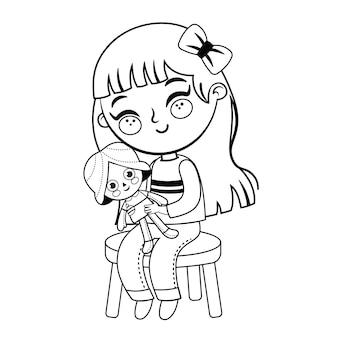 Activité de coloriage avec une petite fille vector illustration