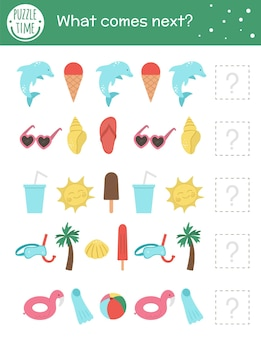 Activité de correspondance estivale pour les enfants d'âge préscolaire avec des objets de plage