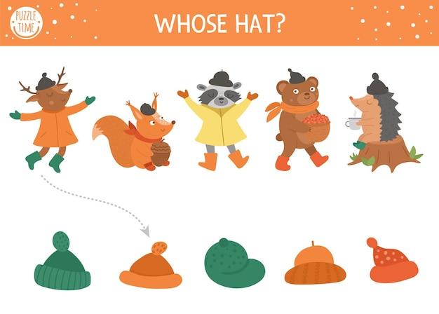 Activité de correspondance d'ombre d'automne pour les enfants. puzzle de saison d'automne avec des animaux mignons. simple dont le jeu éducatif de chapeau pour les enfants. trouvez la bonne feuille de travail imprimable pour la silhouette.