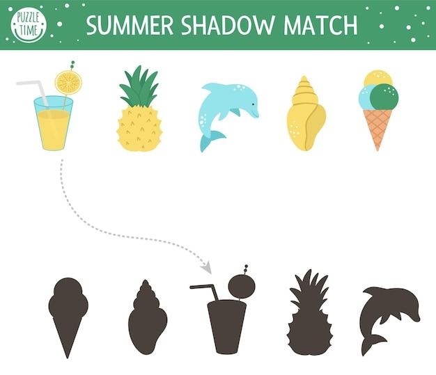 Activité de correspondance des ombres d'été pour les enfants