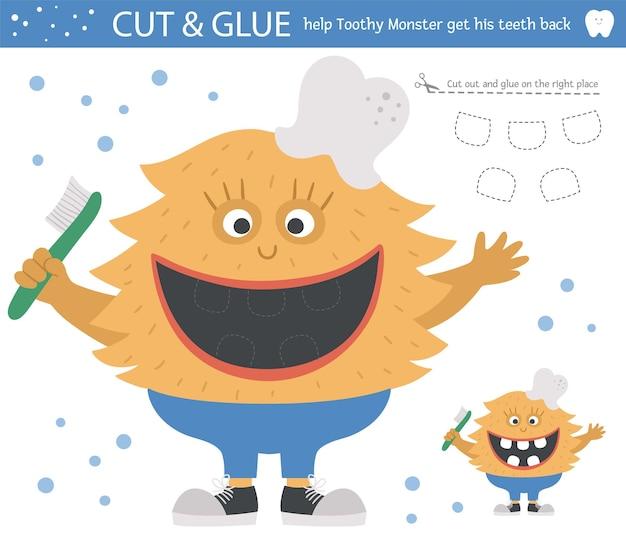 Activité de coupe et de colle de soins dentaires vectoriels pour les enfants. jeu éducatif sur l'hygiène dentaire avec une jolie créature à pleines dents. aidez le monstre à récupérer ses dents.