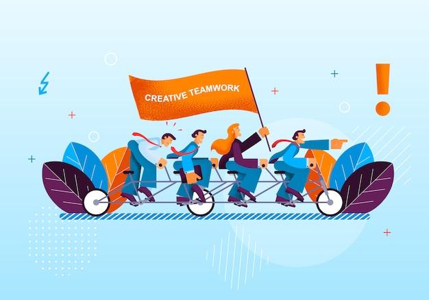 Activité créative les employés de bureau mènent au succès