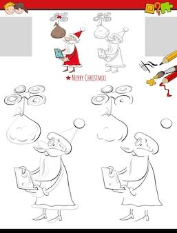Activité de dessin et de coloriage avec dessin animé père noël avec drone et sac de cadeaux