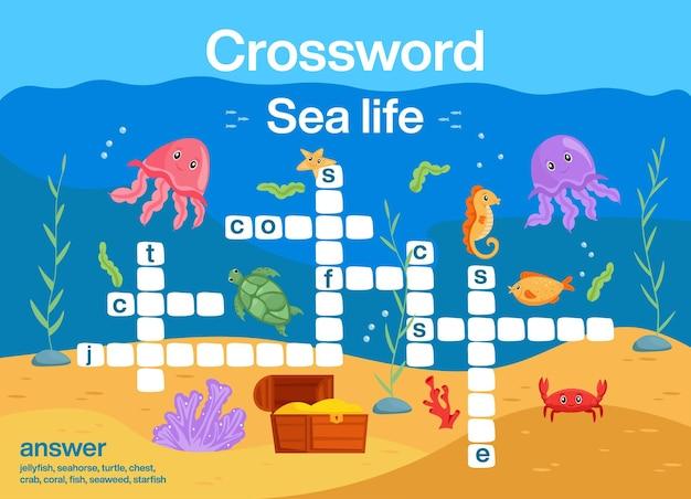 Activité éducative de mots croisés de la vie marine pour les enfants