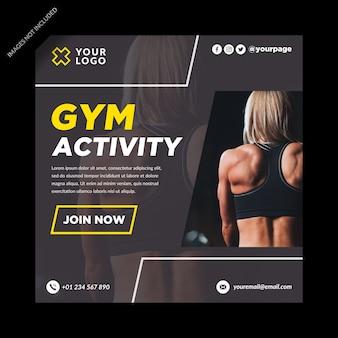 Activité de gym bannière médias sociaux