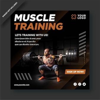 Activité de gym instagram et conception de publications sur les réseaux sociaux