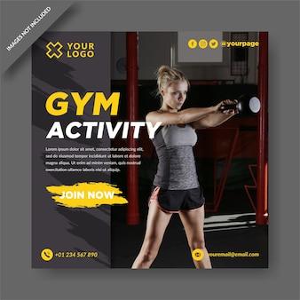 Activité de gym instagram et vecteur de conception de publication de médias sociaux