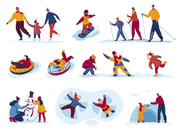 Activité d'hiver en plein air set vector illustration personnes plat homme femme caractère ski patinage ride snowboard à la saison des neiges isolé sur blanc