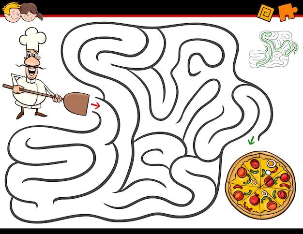 Activité de labyrinthe de dessin animé avec chef et pizza