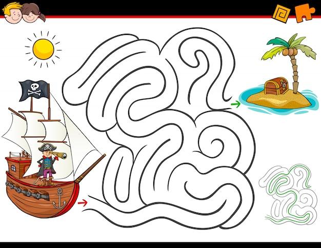 Activité de labyrinthe de dessin animé avec pirate et trésor