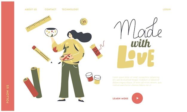 Activité de peinture, modèle de page de destination de créativité.